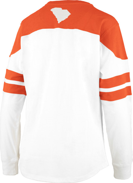 Pressbox Clemson University Half Back Long Sleeve Pieced Crew Neck Tee