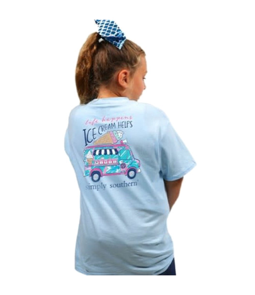 Simply Southern Youth Preppy Ice Cream Short Sleeve Pocket T-shirt