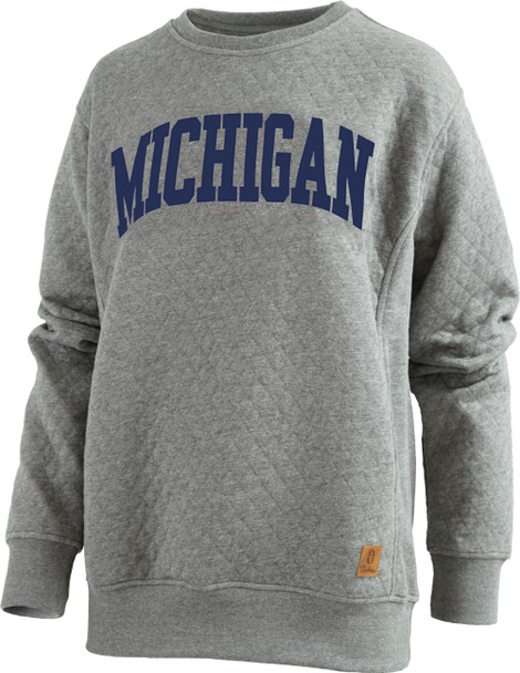 Pressbox Women's NCAA Michigan Wolverines Moose Applique Quilted Crewneck Sweatshirt