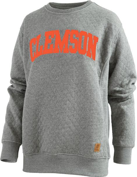 Pressbox Women's NCAA Clemson Tigers Moose Applique Quilted Crewneck Sweatshirt