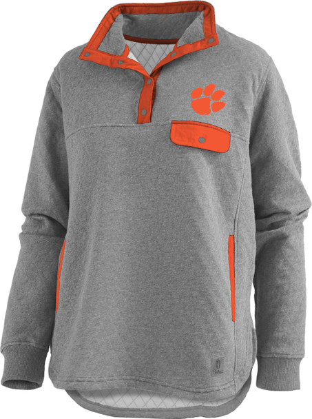 Pressbox Women's NCAA Clemson Tigers Magnum Quilted Henley Pullover