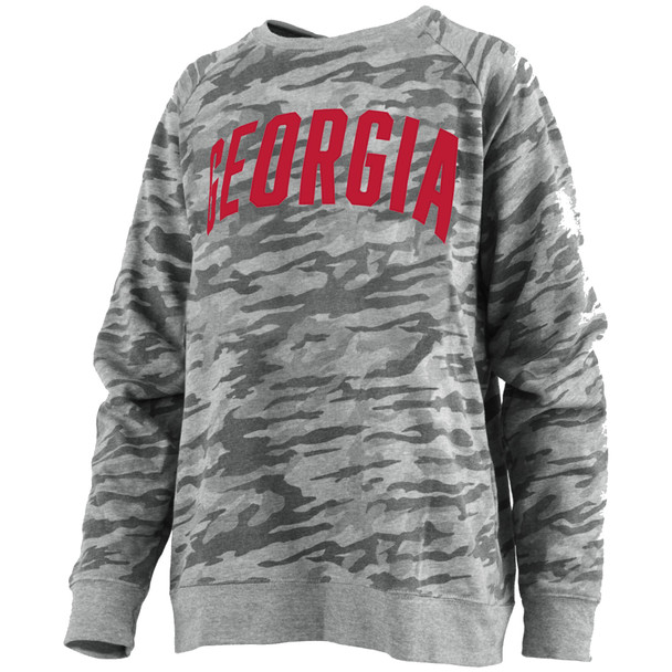 Pressbox Women's Georgia Bulldogs Camo Gulfport Applique Crewneck Sweatshirt