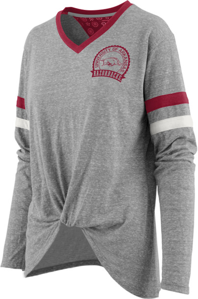 Pressbox NCAA Women's Arkansas Razorbacks Maple Long Sleeve T Shirt with Knot