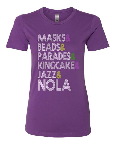 Women's Mardi Gras Traditions Ladies Fit Short Sleeve T-shirt