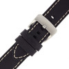 Black Leather Watch Band with White Topstiching - Buckle View