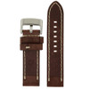 Brown Leather Watch Band with White Topstitching - Bottom View - Main
