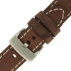 Brown Leather Watch Band with White Topstitching - Buckle View