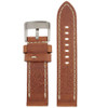 Tan Leather Watch Band with white Topstitching - Bottom View - Main