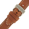Tan Leather Watch Band with white Topstitching - Buckle View