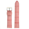 Pink Leather Watch Band with Alligator Grain - Top View