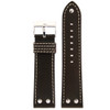 Leather Pilot Watch Band with Rivets in Dark Brown front