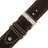 Leather Pilot Watch Band with Rivets in Dark Brown with buckle