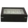 Watch Box 10 Black Lacquer Window Large Cushions - Main