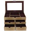 Large Jewelry Box Chest Organizer Animal Print in Beige Brown - Main