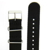 Watch Band Nylon One-Piece Sport Strap Black Stainless Buckle 20 mm