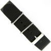 Watch Band Nylon One-Piece Sport Strap Black Stainless Buckle 20 mm - Main