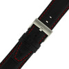 Black Leather Watch Band with Red Stitching - Buckle View - Main