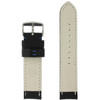 Long Black Leather Watch band with Blue Topstitching - Bottom View - Main