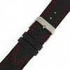 Black Leather Watch Band with Carbon Fiber Print in Black - Buckle View - Main