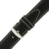 Black Leather Watch band with white topstitch by Techswiss - buckle view