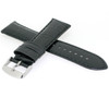 Black Leather Watch Band with Crocodile Grain by Tech Swiss - Side View