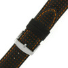 Black Leather Watch Band with Orange Trim - Buckle View