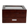 20 Watch Box Wood Brown Ash Large Compartments High Clearance Glass Window