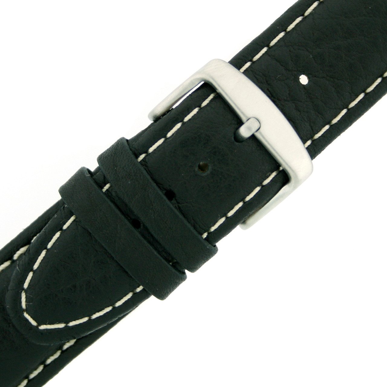 Watch Band with top-stitch design in black by Tech Swiss