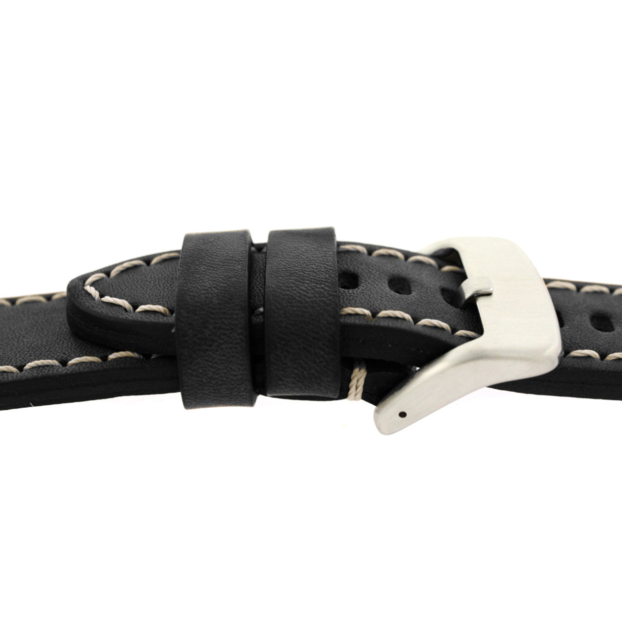 Black Leather Watch Band with White Topstiching - Side View