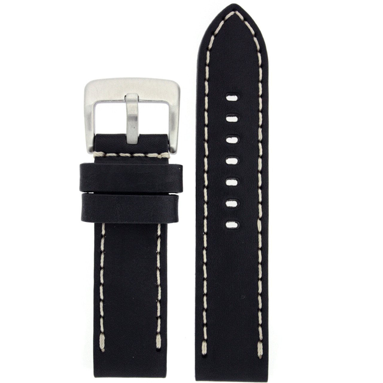 Black Leather Watch Band with White Topstitching - Top View
