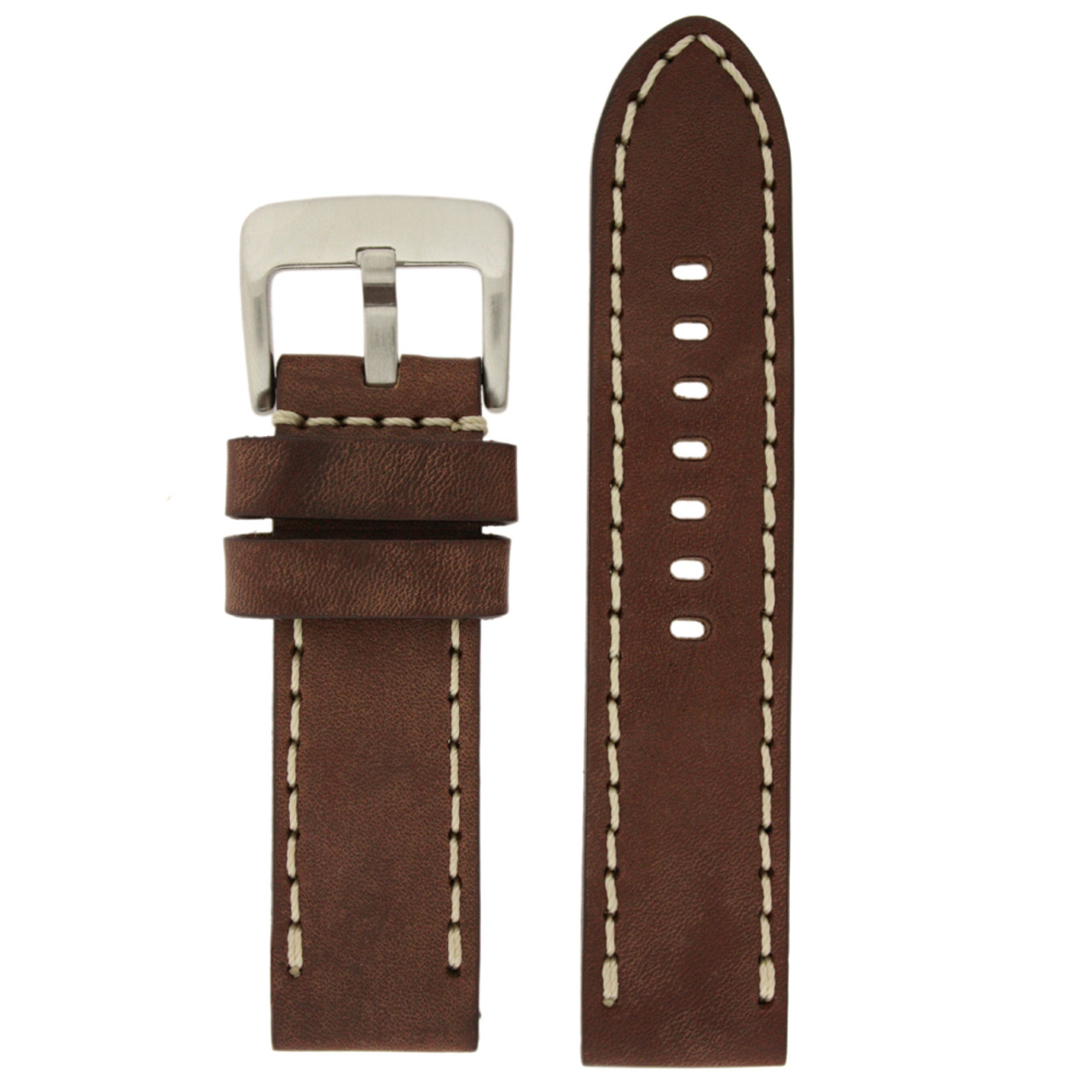 Brown Leather Watch Band with White Topstitching - Top View