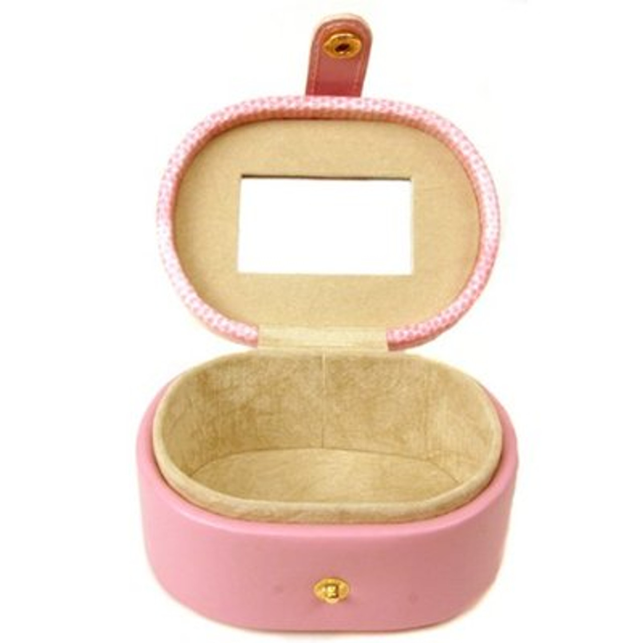 Mini Jewelry Box Case Gift for Jewelry Oval Pink Leather - Main