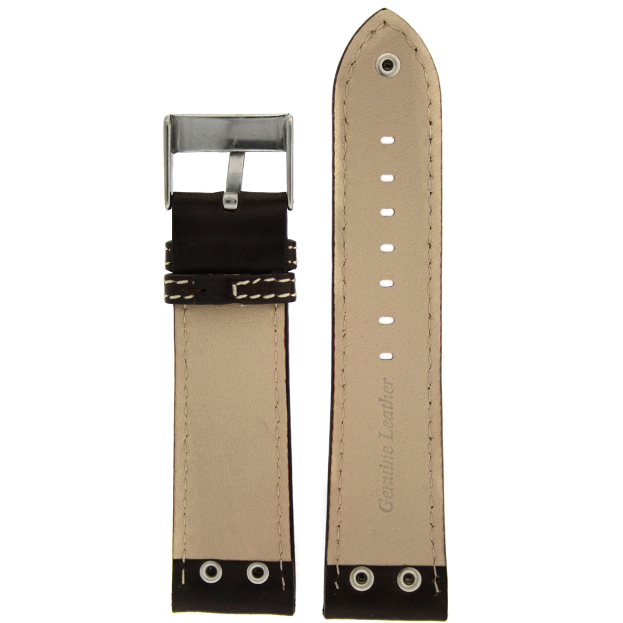 Leather Pilot Watch Band with Rivets in Dark Brown - inside - Main