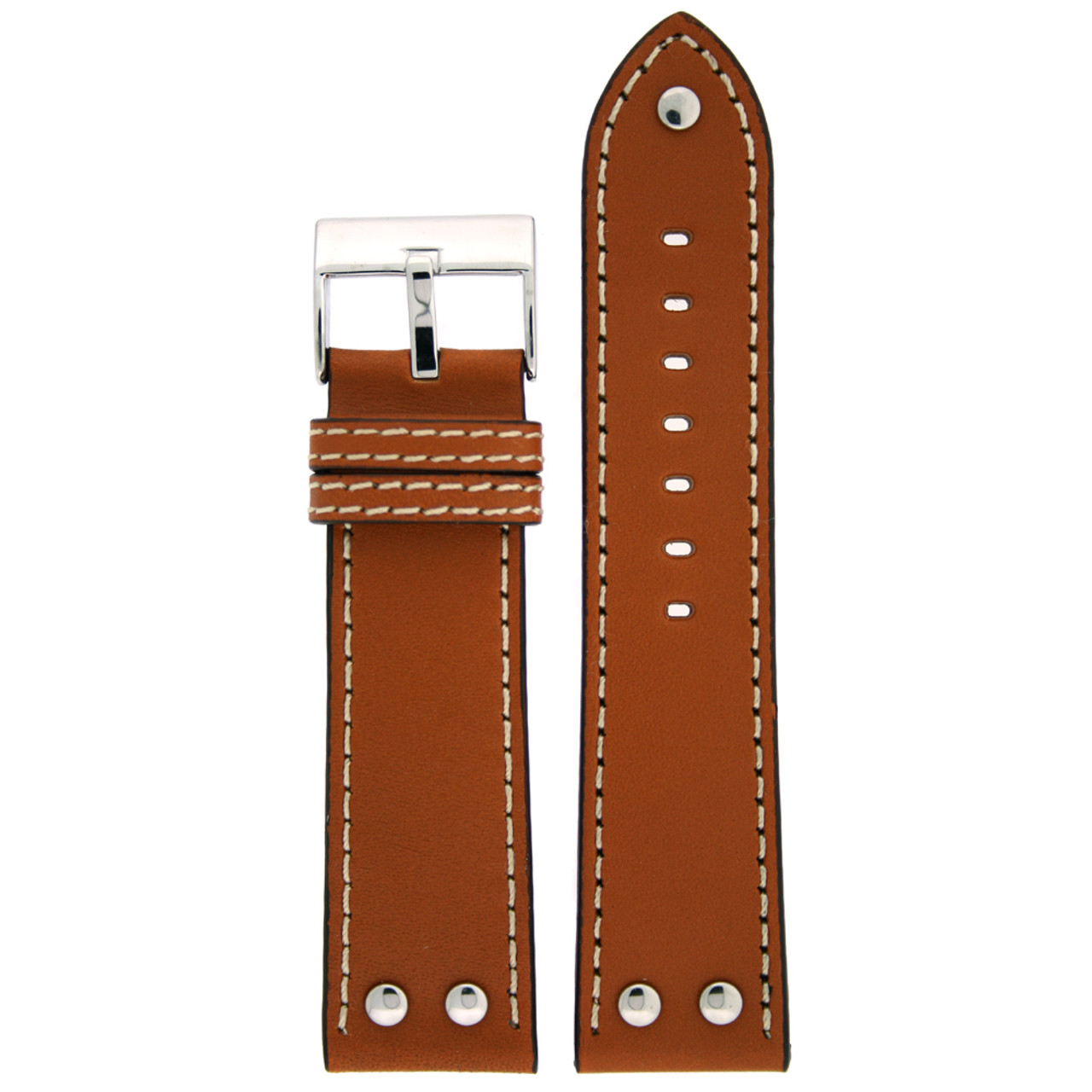 Pilot Watch Band with Rivets in Tan by Tech Swiss - Top View