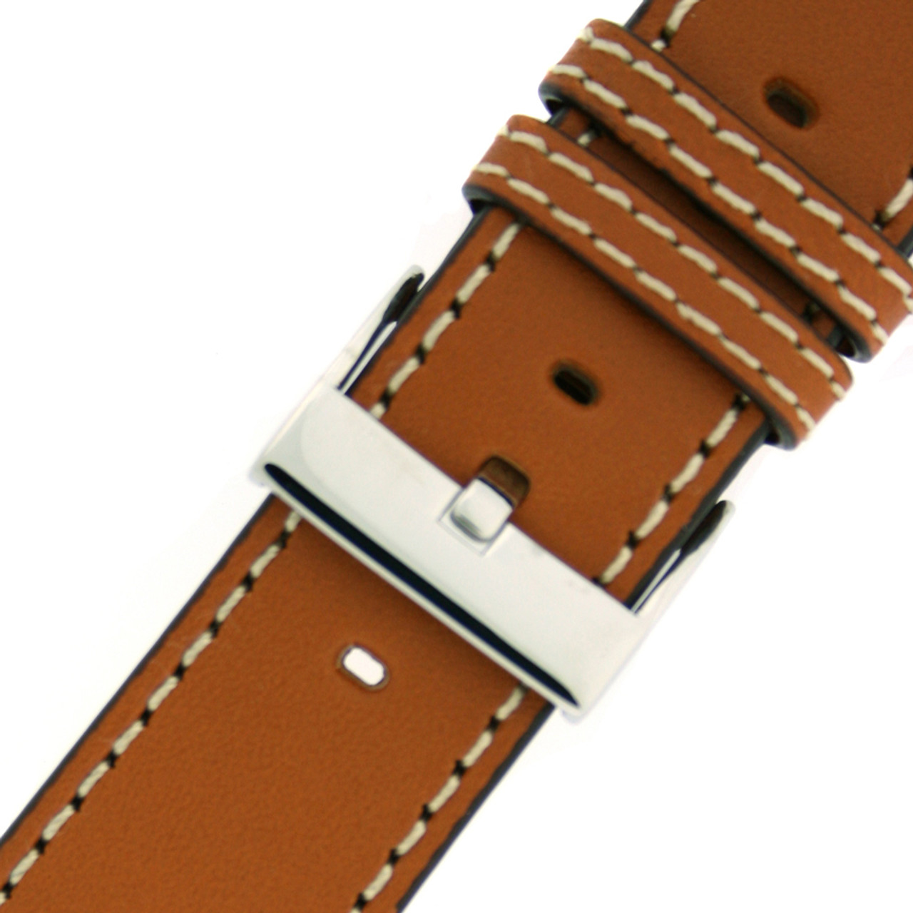 Pilot Watch Band with Rivets in Tan by Tech Swiss - Buckle View