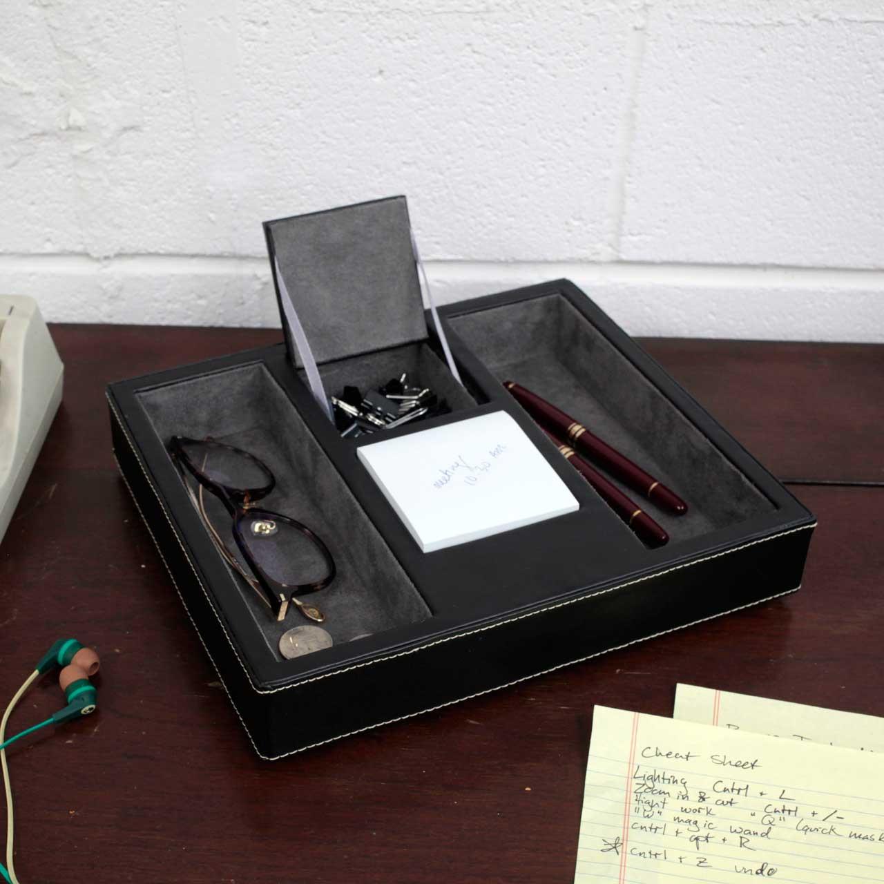 Valet Tray Leather Desk Or Dresser Organizer Black