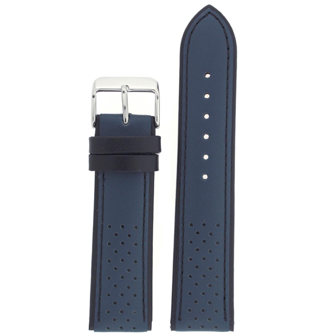 Sporty Leather Watch Band in Blue - front view