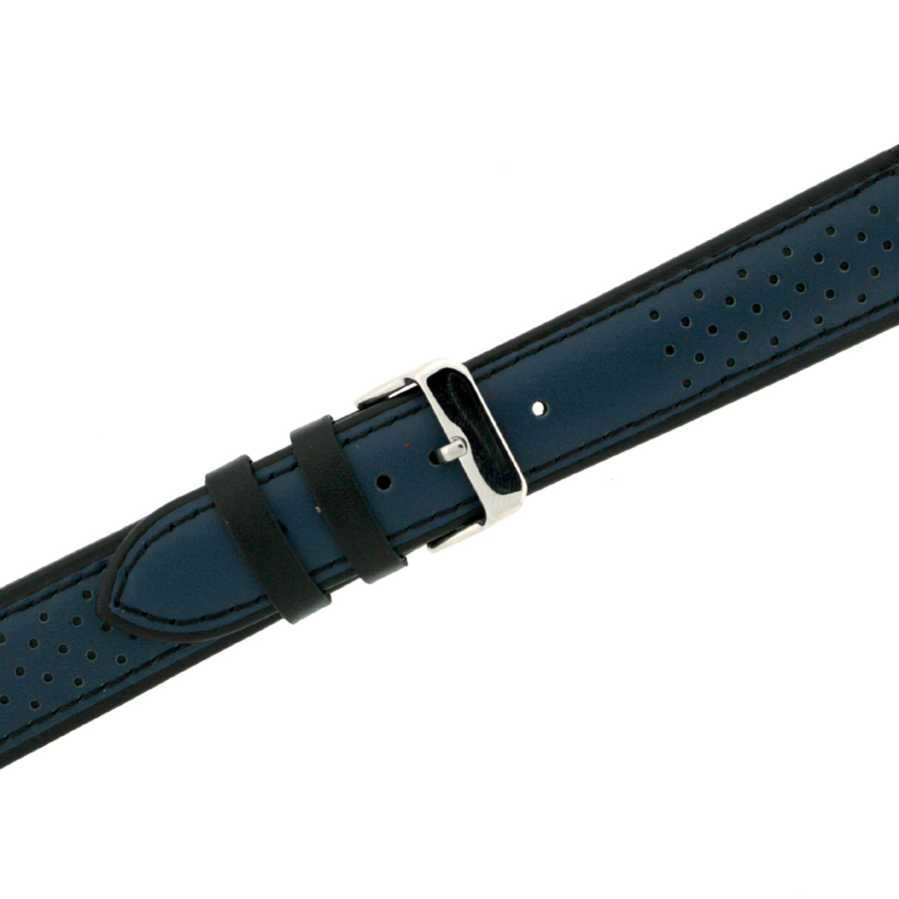 Sporty Leather Watch Band in Blue - buckle view