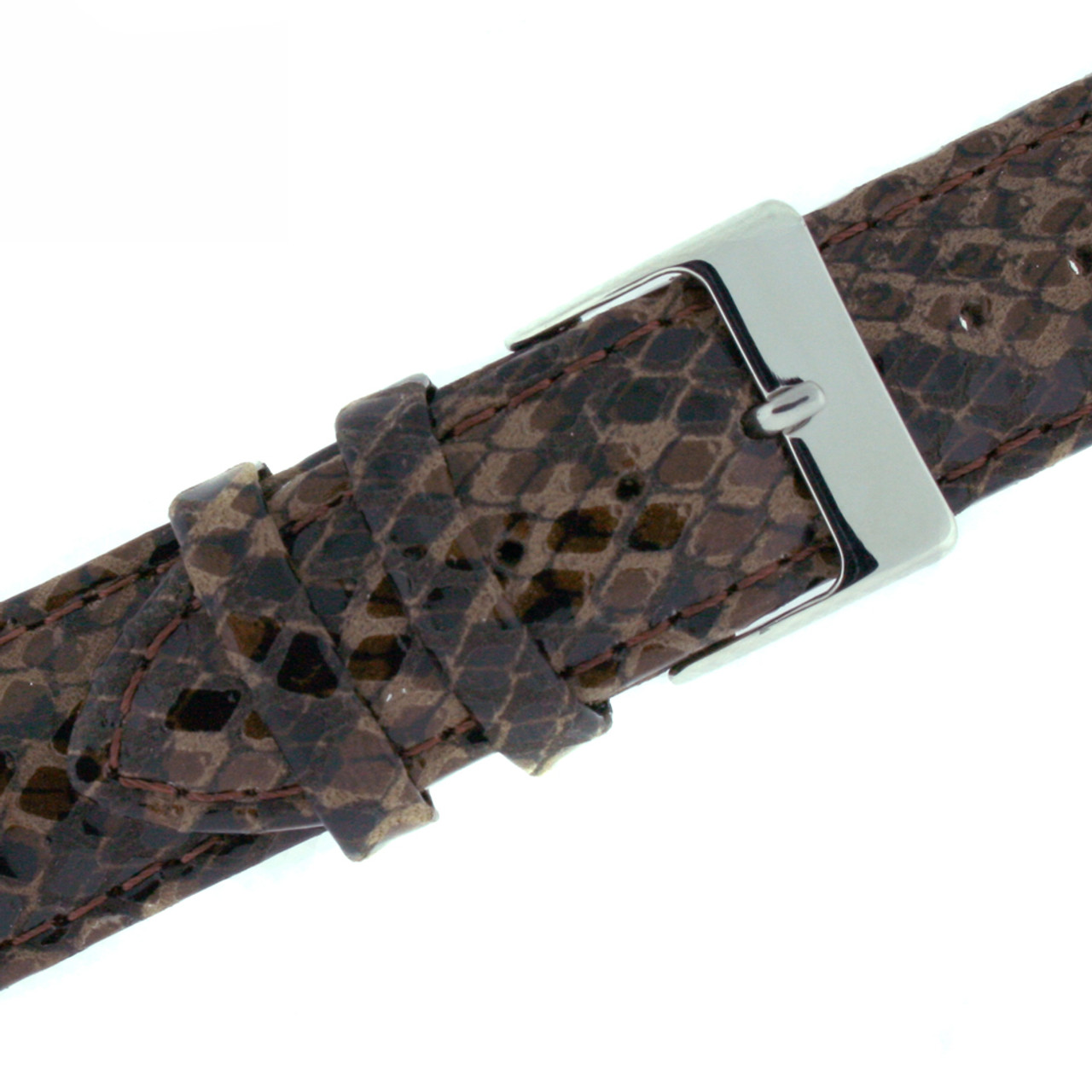 Watch Band Brown Snake Print - Buckle View