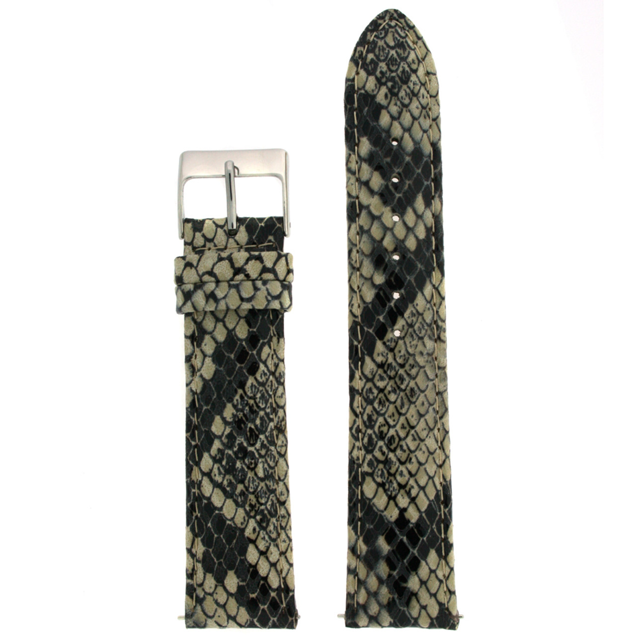 Watch Band in Cream Snake Print - Top View