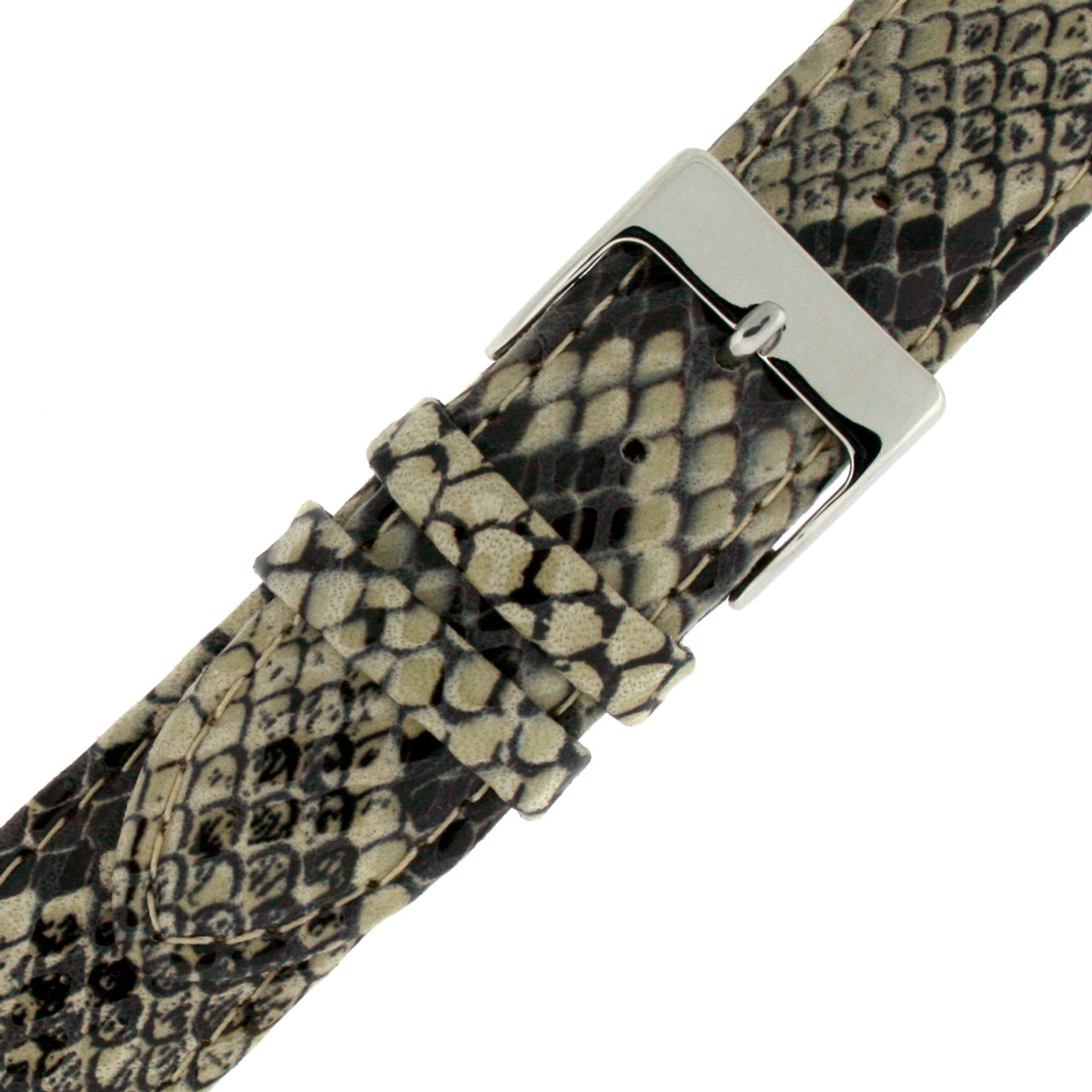 Watch Band in Cream Snake Print - Buckle View