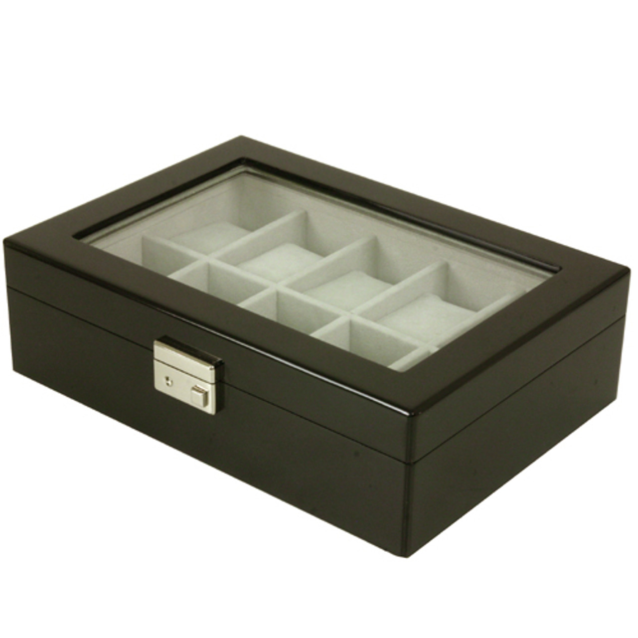 Watch Box 10 Black Lacquer Window Large Cushions