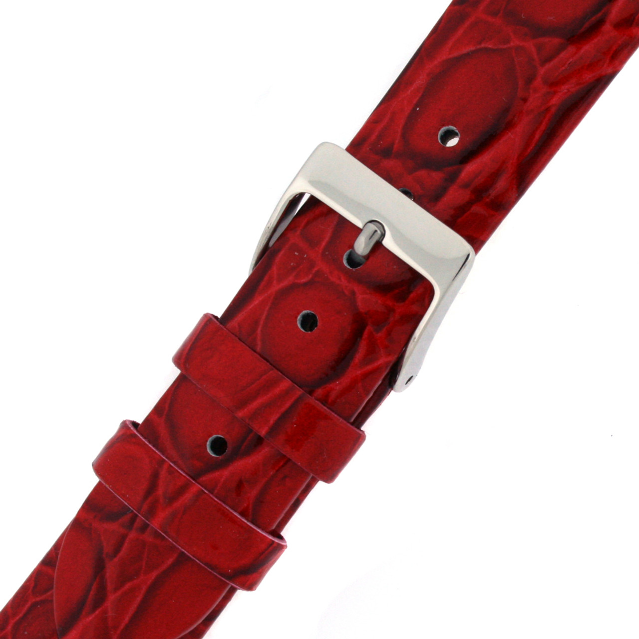 Red Crocodile Grain Leather Watch Band - Buckle View