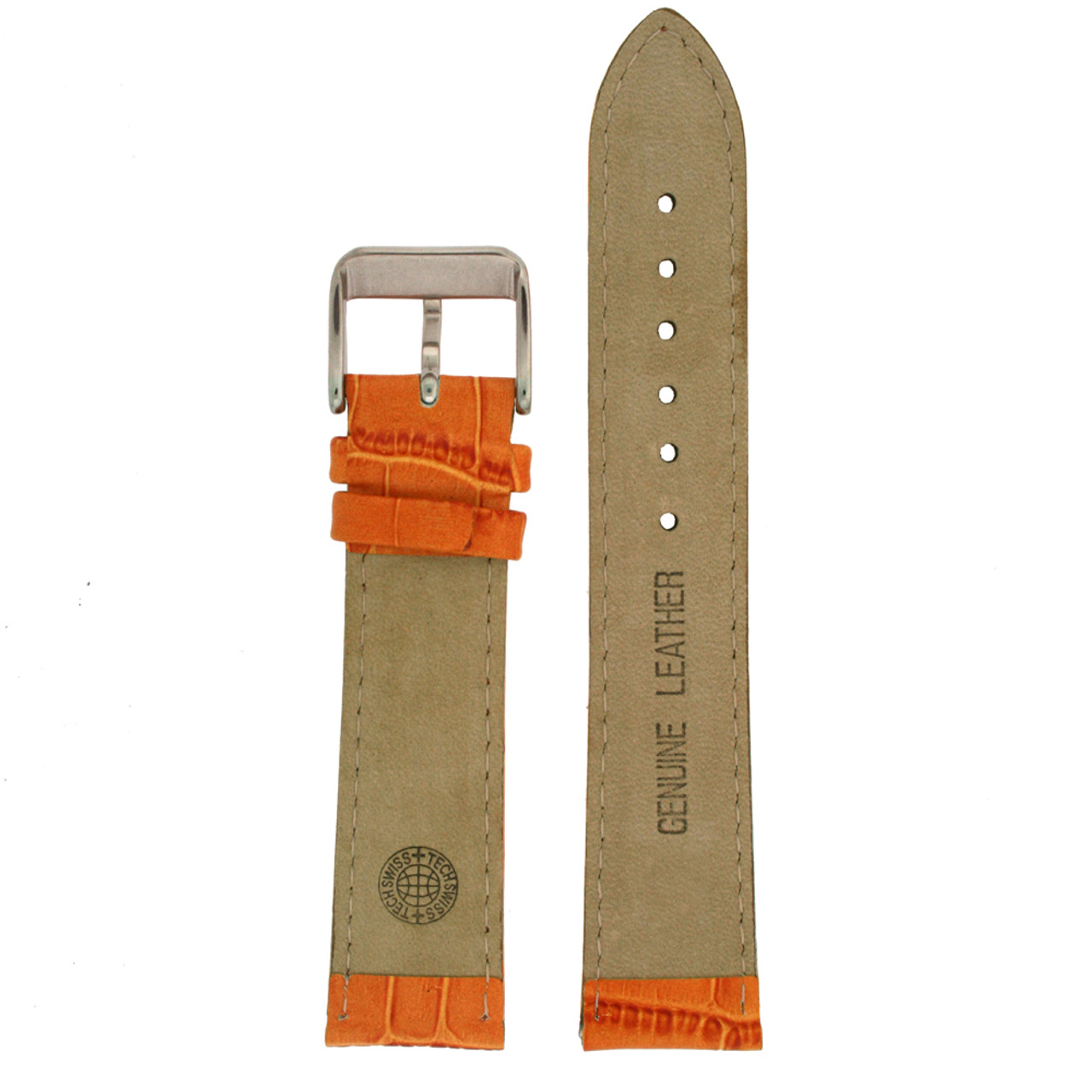 Orange Leather Watch Band with Alligator Grain by Tech Swiss - Bottom View - Main