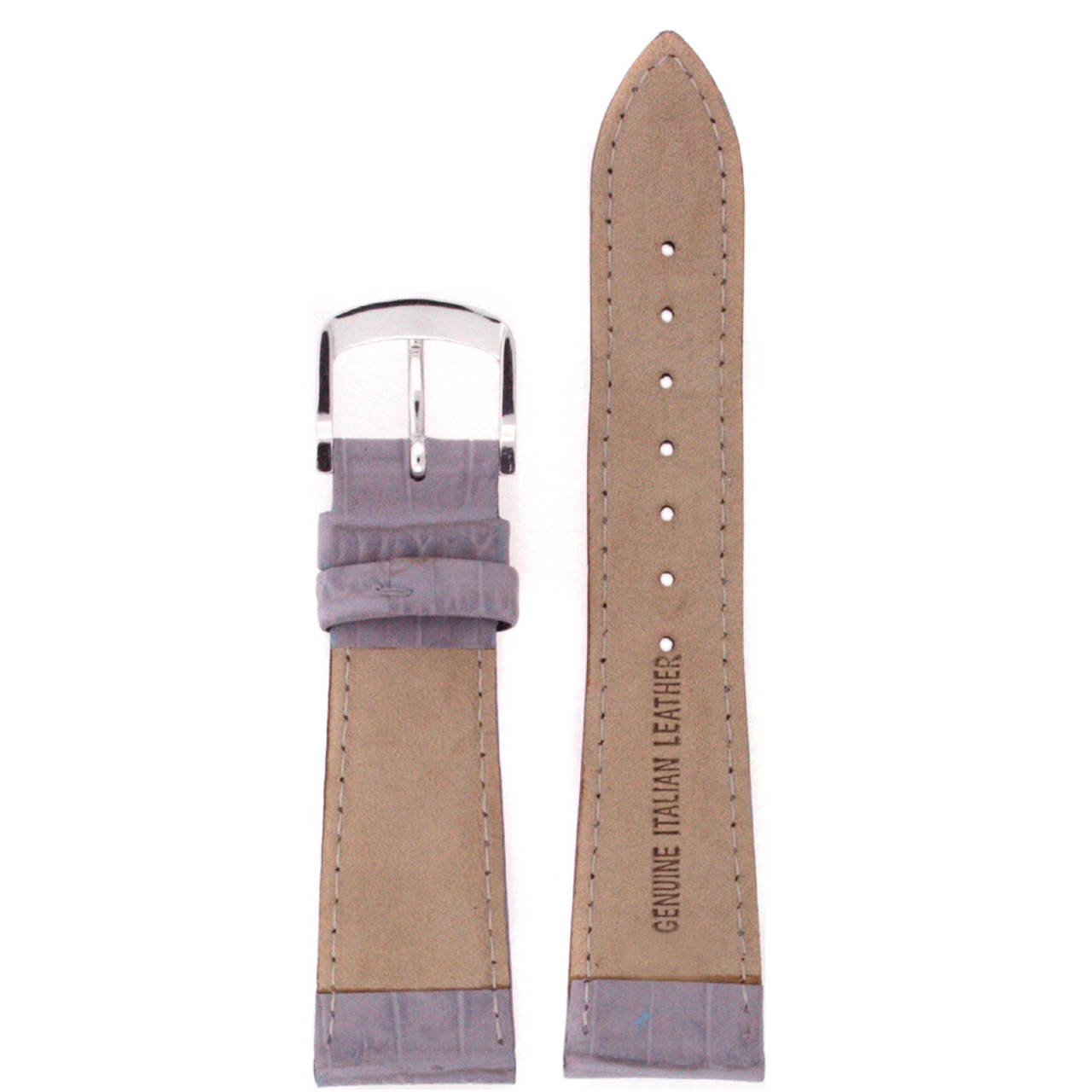 Leather Watch band in Lavender - Bottom View - Main