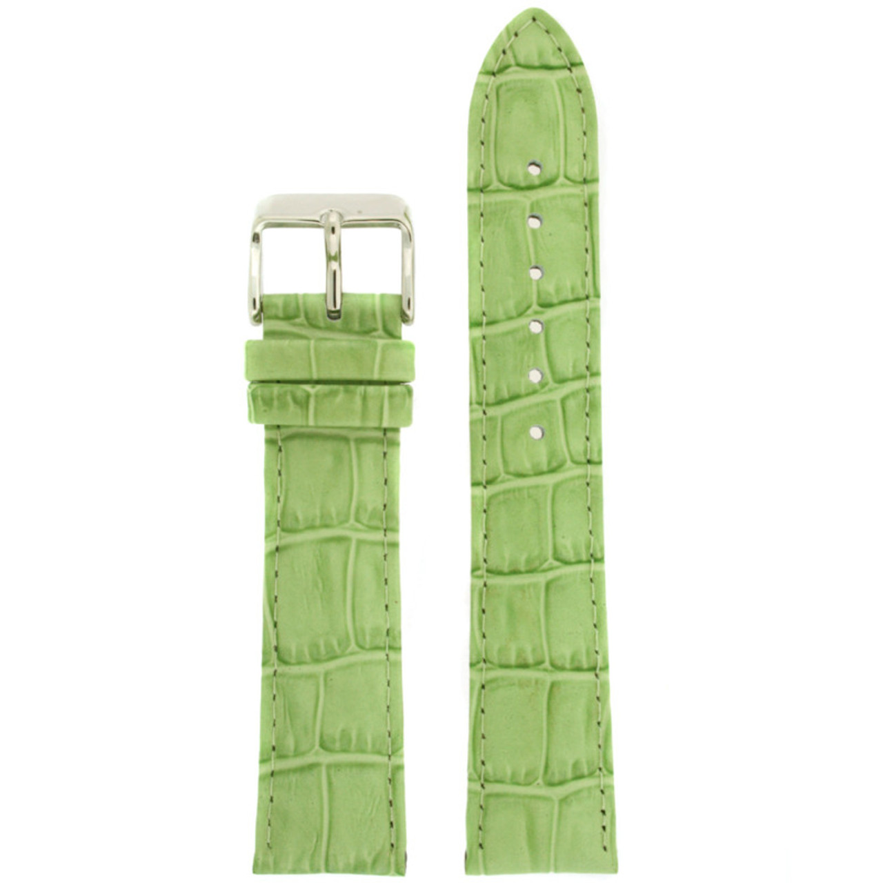 Leather Watch Band with Alligator Grain Print in Lime Green by Tech Swiss - Top View