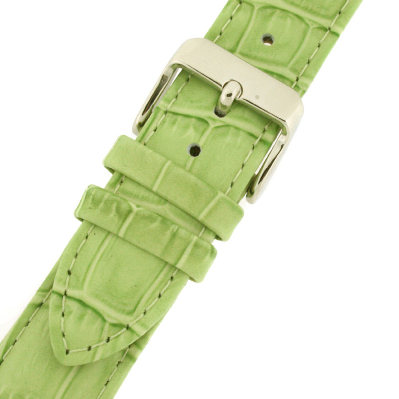 Leather Watch Band with Alligator Grain Print in Lime Green by Tech Swiss - Buckle View