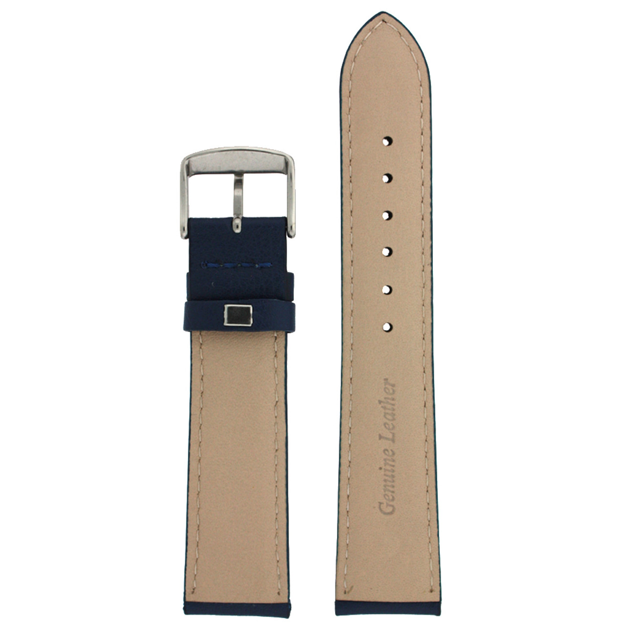 Blue Leather Watch Band by Tech Swiss - Bottom View - Main