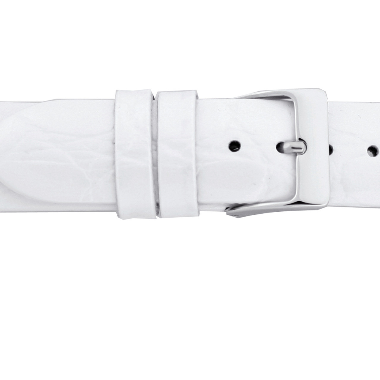 White Patent Leather Watch Band with Crocodile Grain Print by Tech Swiss - Buckle Top View