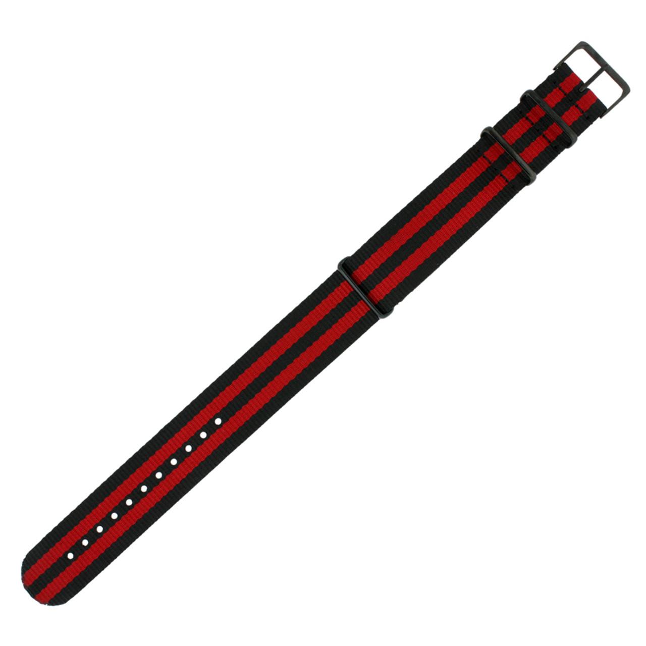 Watch Band Nylon One Piece Military Sport Red Black Stripe Black
